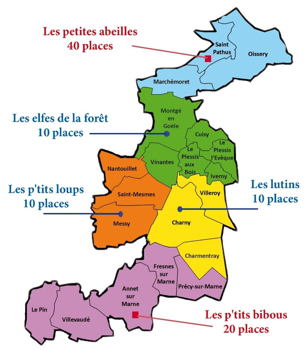 Situation géographique des structures d'accueil collectif pour la petite enfance